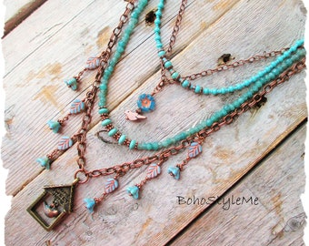 Bohemian Beaded Bird Necklace, BohoStyleMe, Bird Lover, Bird House, Nature Inspired Jewelry, Blue Green Jewelry
