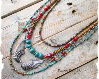 Boho Colorful Jewelry, Southwest Tribal, BohoStyleMe, Wings, Rustic Primitive Beaded Necklace, Modern Hippie