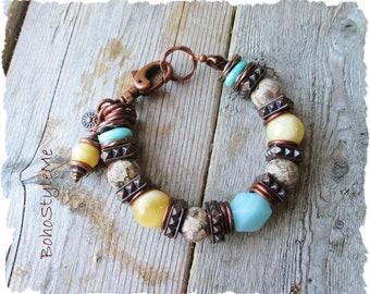 Chunky Stone Bracelet, Southwestern Jewelry, Stone and Antiqued Copper Bracelet, BohoStyleMe, Rustic Boho Bracelet