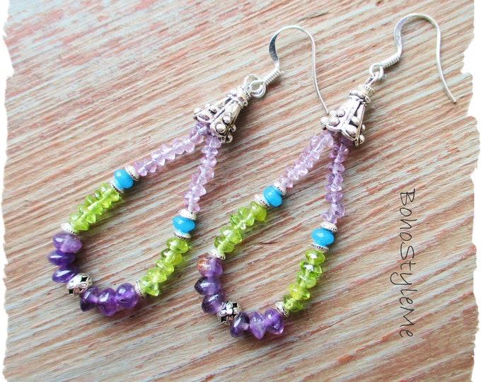 Featured listing image: Gemstone Earrings, BohoStyleMe, Bohemian Jewelry, Global Chic Modern Hippie Earrings, Vibrant Peacock Colors