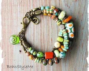 Bohemian Jewelry, Rustic Tribal Bracelet, BohoStyleMe, Handmade Bracelet, Mixed Color Boho Bracelet, Modern Hippie