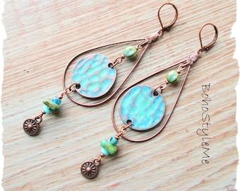 Hammered Copper Blue Green Handmade Boho Teardrop Hoop Earrings, BohoStyleMe, Bohemian Modern Hippie Earrings Jewelry