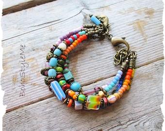 Colorful Boho Style Beaded Bracelet, BohoStyleme, Bohemian Jewelry, Hippie Bracelet, Boho Style Me