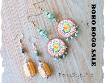 Earring Sale, Boho Earrings, BohoStyleMe, Bohemian Jewelry, Jewelry Sale, Boho Bogo Earring Sale, Closeout, Clearance, Final Sale