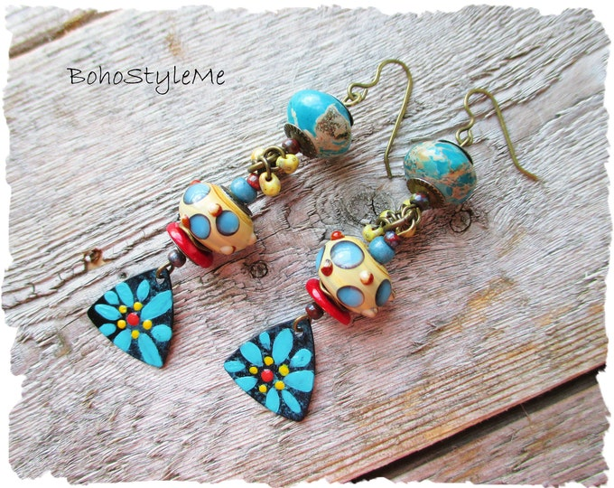 Featured listing image: Colorful Boho Earrings, Handmade Bohemian Earrings, BohoStyleMe, Long Rustic Tribal Earrings, Hand Painted Flowers