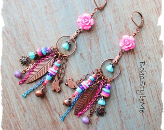 Boho Colorful Fun Pink Flower Dangle Earrings, BohoStyleMe, Bohemian Beaded Charm Earrings, Modern Hippie Earrings