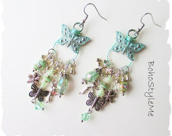 Boho Crystal Fairytale Earrings, BohoStyleMe, Bohemian Jewelry, Sparkling Butterfly Assemblage Earrings