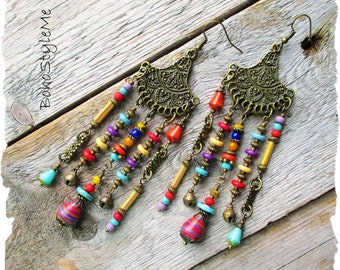 Boho Gypsy Style Beaded Chandelier Earrings, BohoStyleMe, Colorful Bohemian Jewelry, Unique Asymmetrical Earrings