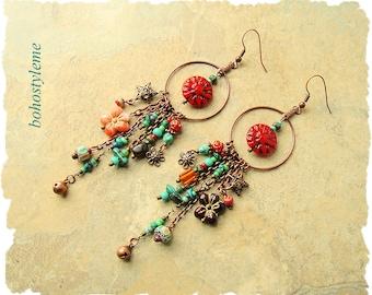 Closeout - Clearance - Final Sale - Earrings, bohostyleme, Long Dangle Earrings, Turquoise, Handcrafted Bohemian Jewelry