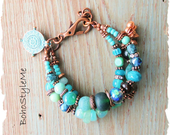 Featured listing image: Rustic Tribal Gemstone Bohemian Bracelet, BohoStyleMe, Ocean Inspired, Handmade Blue Green Chunky Beaded Boho Bracelet