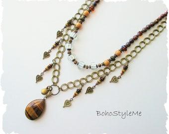 Bohemian Necklace, Tiger's Eye Necklace, BohoStyleMe, Modern Hippie Jewelry, Handmade Boho Style Me Necklace