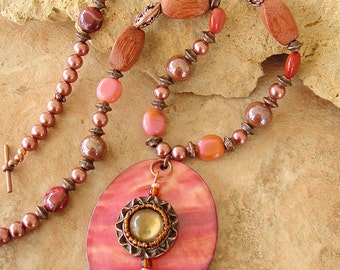 Closeout, Clearance, Final Sale, Boho Necklace, Bohemian Jewelry, Orange Sunset Shell Pendant, Copper Beaded Necklace
