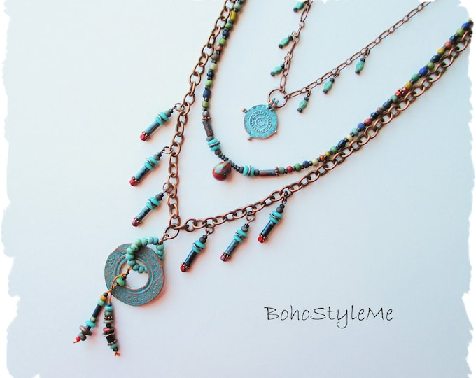 Featured listing image: Rustic Tribal Bohemian Tiered Necklace, Handcrafted Mixed Color Beaded Necklace, BohoStyleMe, Free Style
