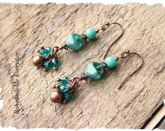 Green Boho Earrings, Mint Green Jewelry, Bohemian Earrings, Boho Jewelry, Green Dangle Earrings, Everyday Earrings