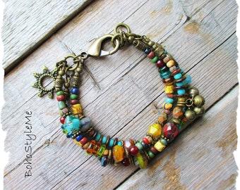 Colorful Beaded Bohemian Bracelet, BohoStyleMe, Handmade Boho Hippie Bracelet, Unique Sunburst Bracelet