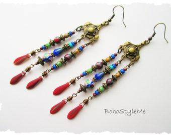 Boho Hippie Style Beaded Earrings, Long Mixed Color Earrings, BohoStyleMe Bohemian Jewelry, Modern Hippie Earrings