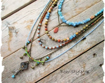 Boho Southwest Beaded Necklace Colorful Handmade Necklace, BohoStyleMe, Native Southwest Desert, Gypsy Wanderer