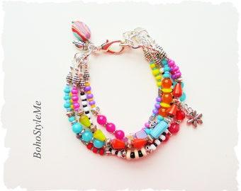 Bohemian Jewelry, Boho Fun Colorful Beaded Bracelet, Modern Hippie Fashion, BohoStyleMe, Kaye Kraus
