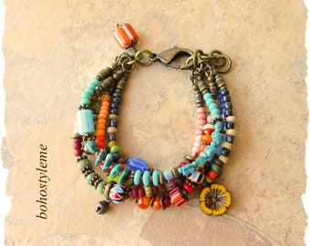 Bohemian Jewelry, Bohostyleme, Boho Colorful Bracelet, Handmade Beaded Bracelet, Gift For Her, Kaye Kraus