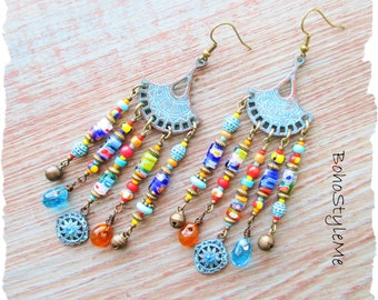 Boho Gypsy Style Beaded Chandelier Earrings, BohoStyleMe, Colorful Bohemian Jewelry, Unique Assemblage Earrings