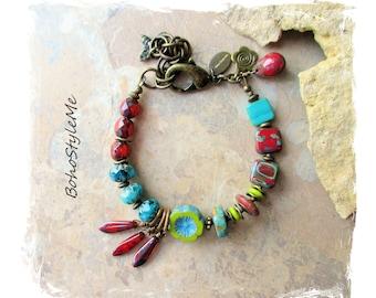 Boho Colorful Bohemian Beaded Flower Bracelet, Bohemian Jewelry, BohoStyleMe, Modern Hippie Chic Jewelry, Boho Fashion