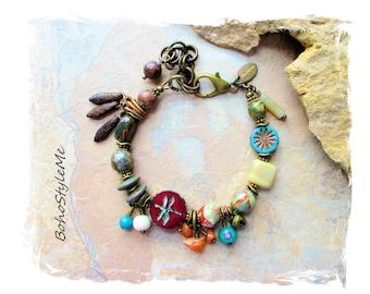 Bohemian Beaded Stone Charm Bracelet, Creative Dragonfly Bracelet, Handcrafted Bohemian Jewelry, BohoStyleMe, Modern Hippie