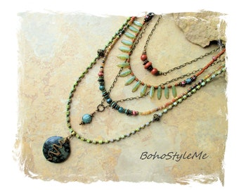 Bohemian Necklace, Green Beaded Tribal Necklace, BohoStyleMe, Modern Hippie Chic, Rustic Gemstone Necklace, Boho Style Me