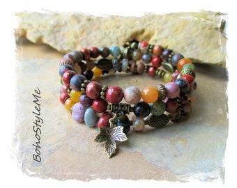 Boho Gemstone Pearl Beaded Bracelet, Bohemian Jewelry, BohoStyleMe, Memory Wire Bracelet, Modern Hippie Chic, Fall Jewelry