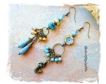 Ocean Blue Asymmetrical Earrings Aqua Mismatch Earrings Azure Mermaid, Modern Hippie Jewelry, BohoStyleMe, Boho Style Me