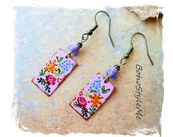 Boho Colorful Miniature Hand Painted Flower Garden Earrings, Bohemian Jewelry, BohoStyleMe, Modern Hippie Chic Earrings