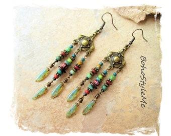 Boho Green Tribal Beaded Earrings, BohoStyleMe, Modern Hippie Earrings, Bohemian Jewelry, Boho Style Me, Handcrafted Earrings