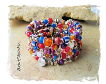 Boho Colorful Fun Hippie Chic Memory Wire Bracelet, Bohemian Jewelry, BohoStyleMe, Primary Colors, Beaded Multilayer Bracelet