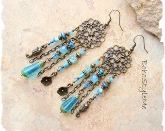 Boho Aqua Blue Ocean Life Seahorse Earrings, Long Sea Blue Beach Wedding Earrings, Bohemian Jewelry, BohoStyleMe