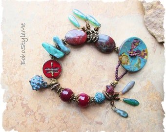 Boho Colorful Fun Beaded Dragonfly Bracelet, BohoStyleMe, Turquoise and Burgundy, Whimsical Button Beaded Bracelet
