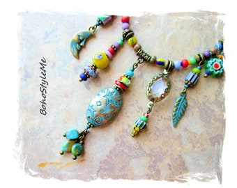 Boho Colorful Beaded Hippie Necklace, Charm Necklace, Bohemian Necklace, BohoStyleMe, Handmade Eclectic Necklace
