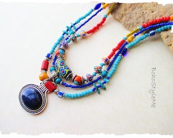 Boho Style Me Colorful Tiered Necklace Primary Colors Beaded Bohemian Necklace Jewelry Boho Chic Fashion BohoStyleMe Jewelry