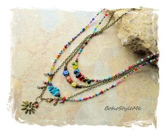 Bohemian Jewelry, Colorful Fun Beaded Modern Hippie Necklace, BohoStyleMe, Boho Colorful Fun Boho Fashion Necklace