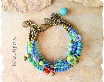 Boho Colorful Fun Blue Green Beaded Flower Bracelet, Bohemian Jewelry, BohoStyleMe, Handmade Modern Hippie Chic Jewelry