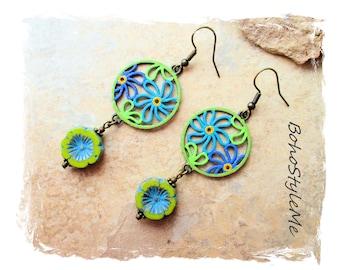 Boho Colorful Fun Hand Painted Flower Garden Earrings, Bohemian Jewelry, BohoStyleMe, Modern Hippie Chic Earrings