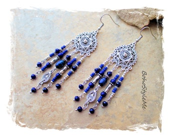 Boho Blue and Silver Beaded Earrings, Bohemian Jewelry, BohoStyleMe, Assemblage Earrings, Boho Style Me Jewelry