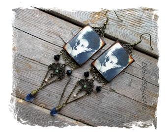 Halloween Earrings, Long Beaded Bride of Frankenstein Earrings, Bohemian Jewelry, BohoStyleMe, Handcrafted Earrings