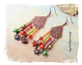 Bohemian Beaded Assemblage Earrings, Boho Style Handmade Earrings, BohoStyleMe, Fun Colorful Earrings, Modern Hippie