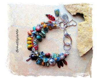 Boho Turquoise Love Much Beaded Bracelet, Southwest Style Silver Bracelet, BohoStyleMe, Mixed Color Gemstone Bracelet