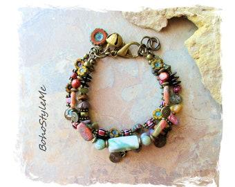 Boho Gemstone and Flower Beaded Bracelet, Modern Hippie Bracelet, Bohemian Jewelry, BohoStyleMe, Mixed Color Stones