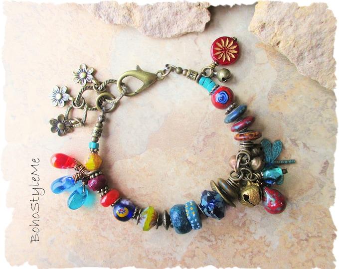 Featured listing image: Boho Colorful Fun Beaded Bracelet, BohoStyleMe, Bohemian Jewelry, Free Style Modern Hippie Bracelet, Mixed Colors