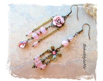 Pink Asymmetrical Earrings Romantic Mismatch Pink Rose Earrings Pink Wedding Earrings, Bohemian Jewelry, BohoStyleMe