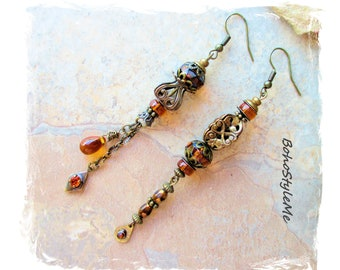 Vintage Repurposed Amber Assemblage Earrings, Asymmetrical Earrings Mismatch Earrings, Bohemian Art Jewelry, BohoStyleMe
