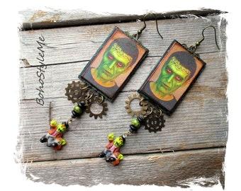 Halloween Earrings, Long Beaded Frankenstein Earrings, Bohemian Jewelry, BohoStyleMe, Colorful Handcrafted Earrings