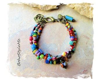 Boho Colorful Fun Beaded Bracelet, BohoStyleMe, Bohemian Jewelry, Free Style Modern Hippie Handmade Bracelet, Mixed Colors