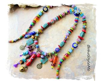 Boho Colorful Beaded Bohemian Charm Necklace, Handmade Artisan Necklace, BohoStyleMe, Creative Eclectic Necklace